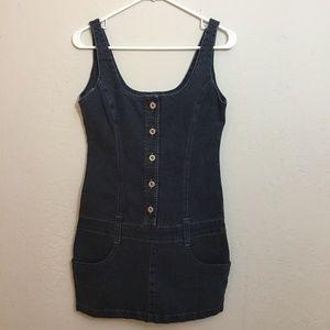Drop Waist Blue Denim Retro Look Mini Dress 60's